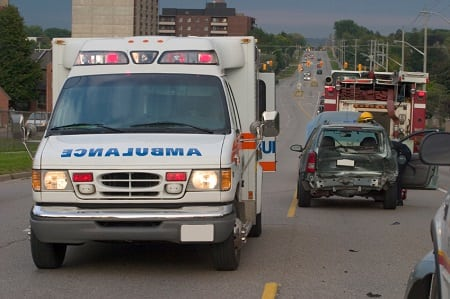 ambulance at the scene of an accident