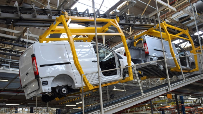 Cars on the production line